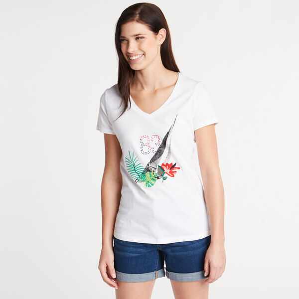 Classic Fit V-Neck Graphic Tee - Bright White