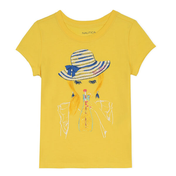 Toddler Girls' Jersey T-Shirt in Portrait Graphic (2T-4T) - Yellow (nrma Code)