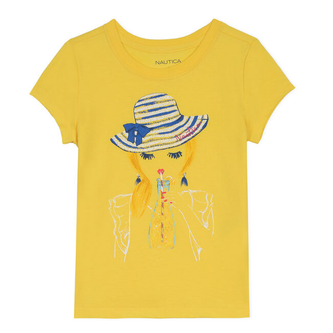 Girls' Jersey T-Shirt in Portrait Graphic (8-20),Yellow (nrma Code),large