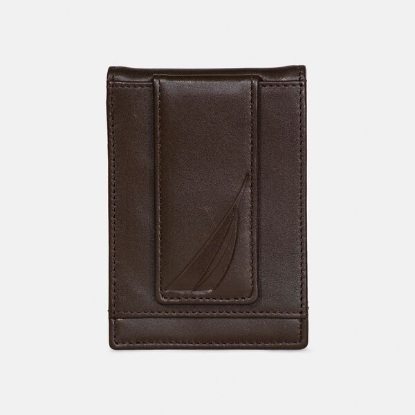 LEATHER FRONT POCKET WALLET - Brown Stone