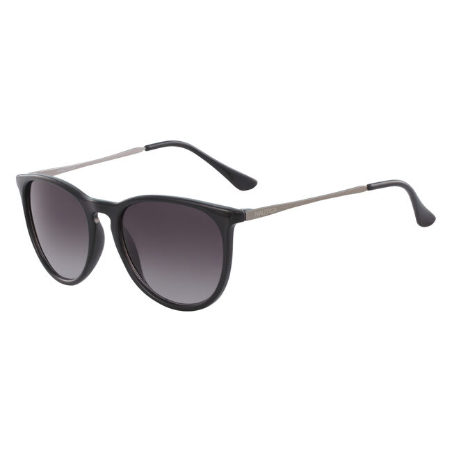 Retro Round Sunglasses with Black Frame,Black,large