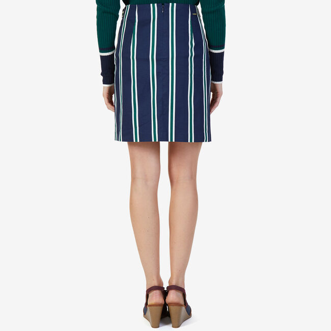 Striped Twill Skirt,Deep Sea,large