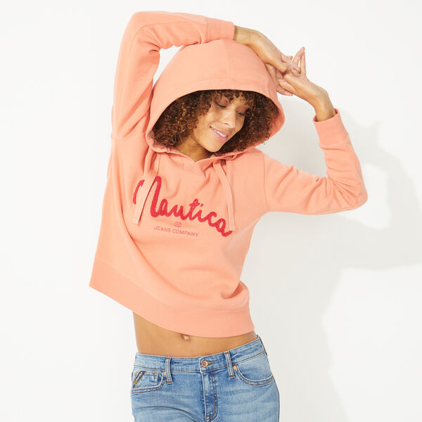 NAUTICA JEANS CO. CHENILLE LOGO HOODIE - Russet