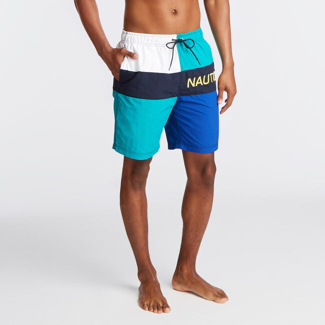 "8"" LOGO COLORBLOCK SWIM TRUNK,Gulf Coast Teal,large"