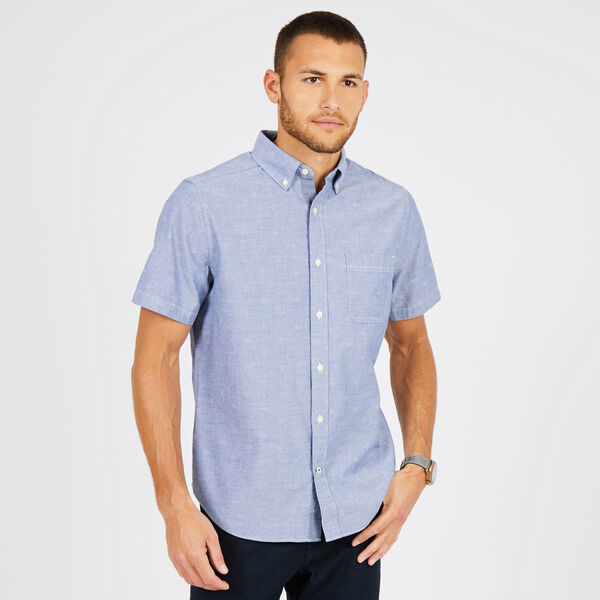 Big & Tall Dobby Classic Fit Short Sleeve Shirt - Monaco Blue