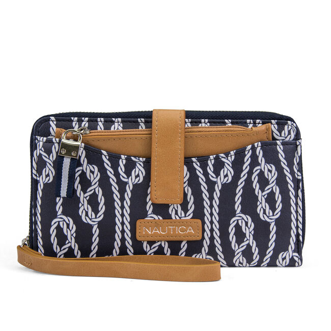 Wristlet With Removable Pouch - Rope Print,Peacoat,large