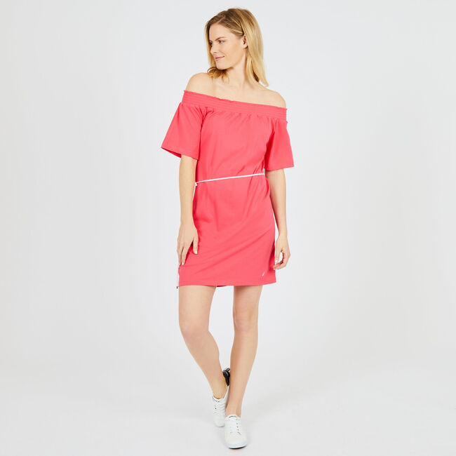Off-the-Shoulder Belted Dress,Downhill Red,large