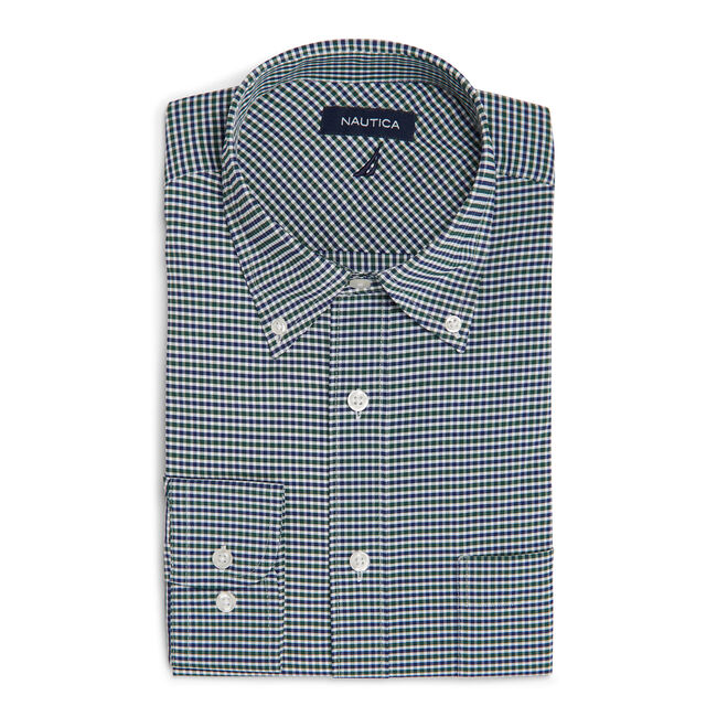 Classic Fit Non-Iron Performance Twill Shirt in Green Plaid,Spruce,large