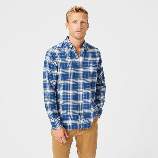 CLASSIC FIT PLAID FLANNEL SHIRT - Estate Blue