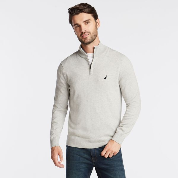 BIG & TALL QUARTER NAVTECH SWEATER - Grey Heather