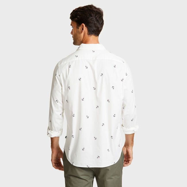 Long Sleeve Mini Anchor Motif Classic Fit Shirt,Bright White,large