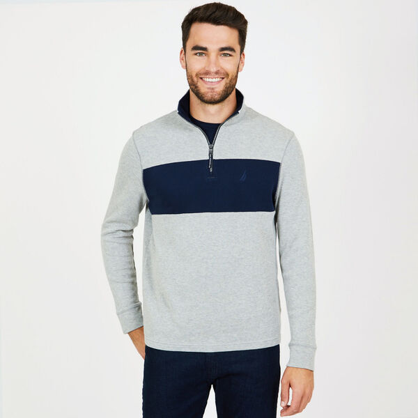 Colorblock Quarter-Zip Mock-Neck Active Top - Grey Heather