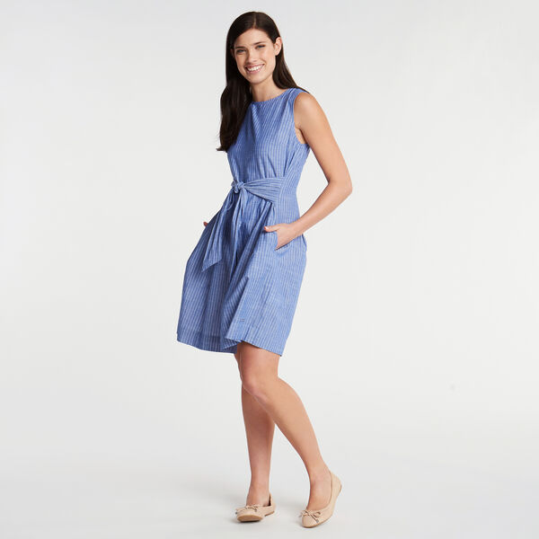 Stripe Fit & Flare Dress - Bayberry Blue