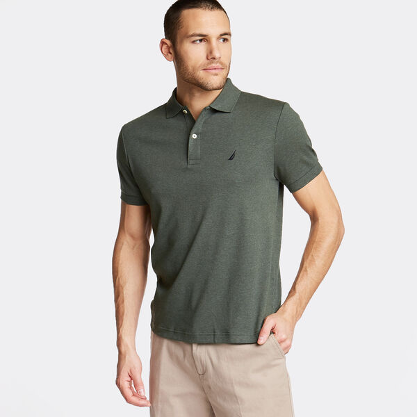 SLIM FIT INTERLOCK POLO - Pine Forest Heather