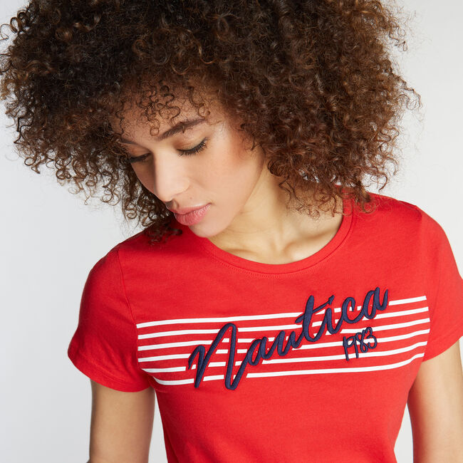 CLASSIC FIT STRIPE GRAPHIC TEE,Tomales Red,large