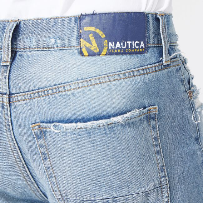 NAUTICA JEANS CO. RELAXED FIT DISTRESSED DENIM,Distressed Blue Wash,large