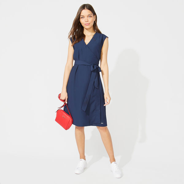 CREPE WRAP DRESS - Stellar Blue Heather