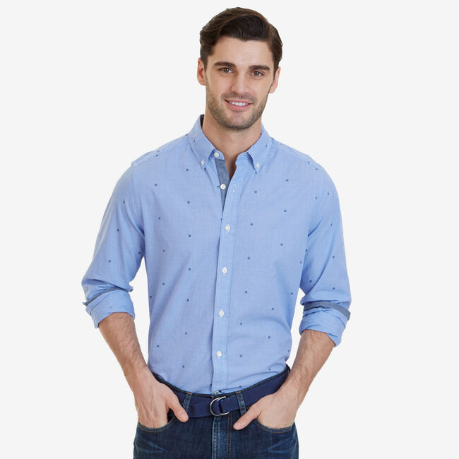 Big & Tall Ship's Wheel Dobby Classic Fit Button Down,French Blue,large