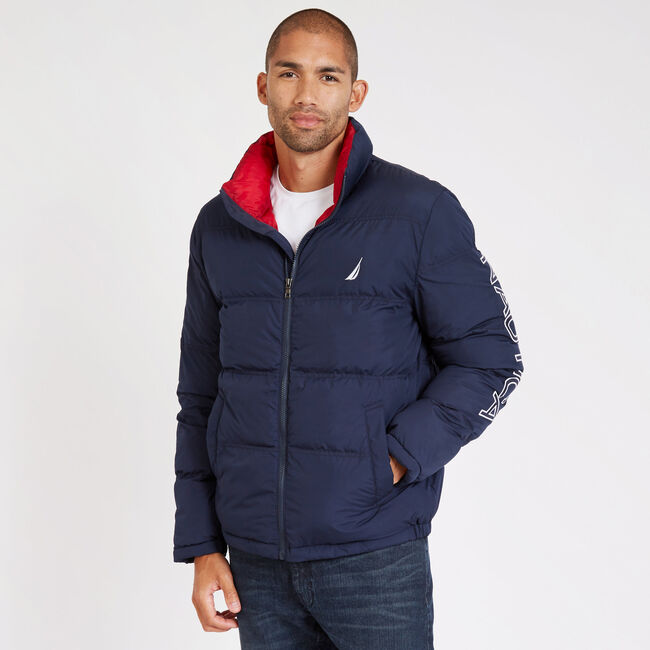 Big & Tall Arctic Down Bomber Jacket,Navy,large
