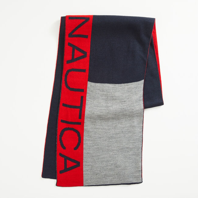 COLORBLOCK LOGO SCARF,Navy,large