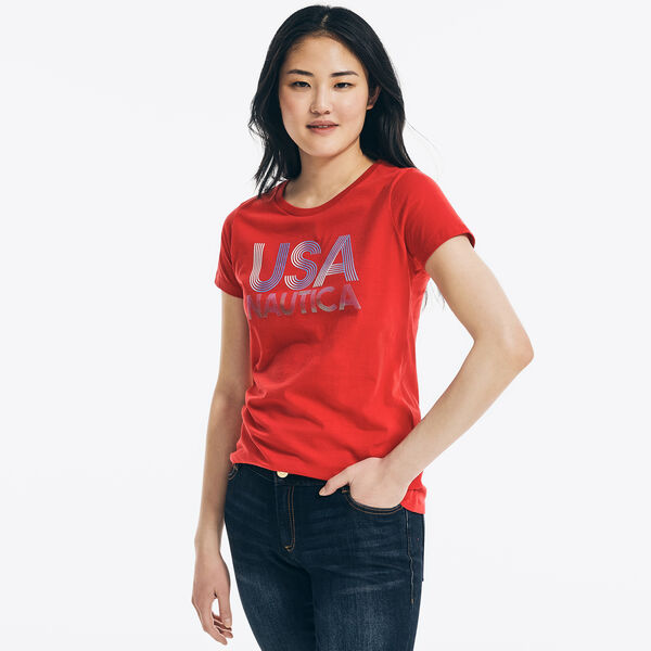 METALLIC FOIL USA GRAPHIC T-SHIRT - Tomales Red