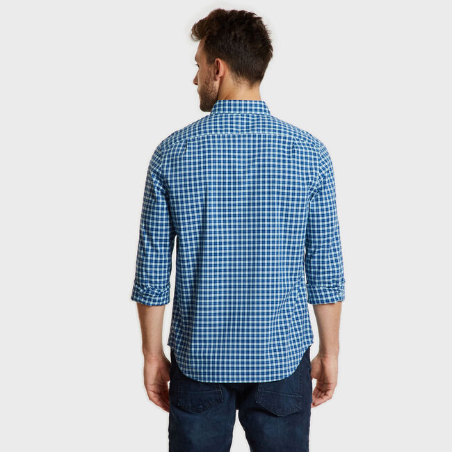 Long Sleeve Plaid Classic Fit Shirt,Harbor Mist,large