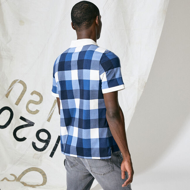 NAUTICA JEANS CO. OVERSIZED GINGHAM POLO,Navy,large