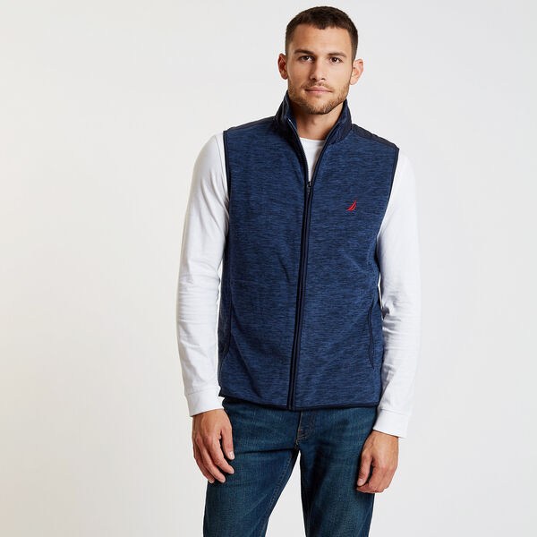 Mock-Neck Colorblock Full-Zip Vest - Pure Dark Pacific Wash