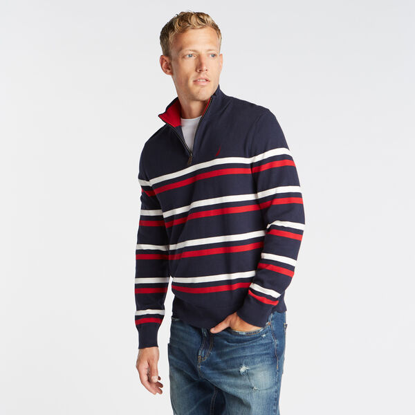 QUARTER ZIP BRETTON STRIPED SWEATER - Pure Dark Pacific Wash