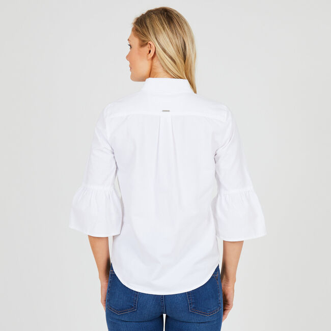 Three-quarter Flared Sleeve Button-Down Shirt,Bright White,large