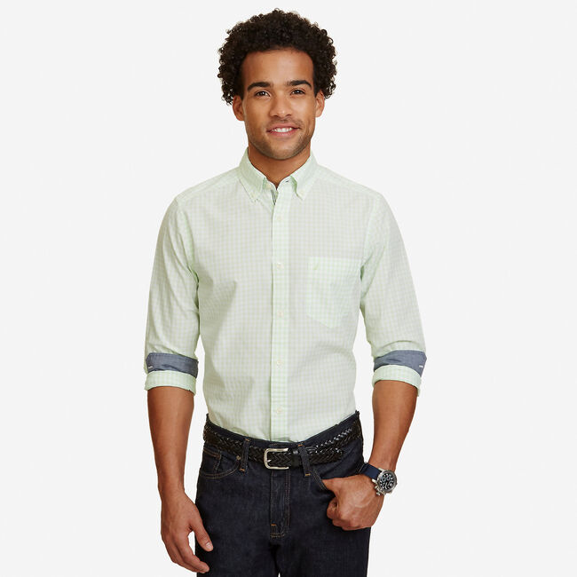 Big & Tall Poplin Gingham Classic Fit Button Down,Green Spruce,large
