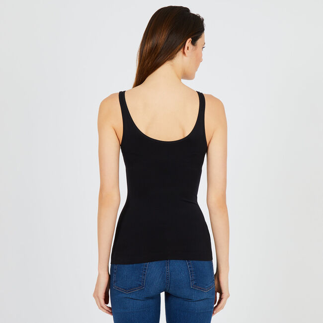 Reversible Neckline Tank Top,True Black,large