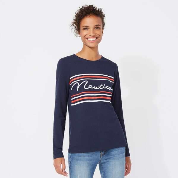 LONG SLEEVE NAUTICA GRAPHIC TEE - Stellar Blue Heather