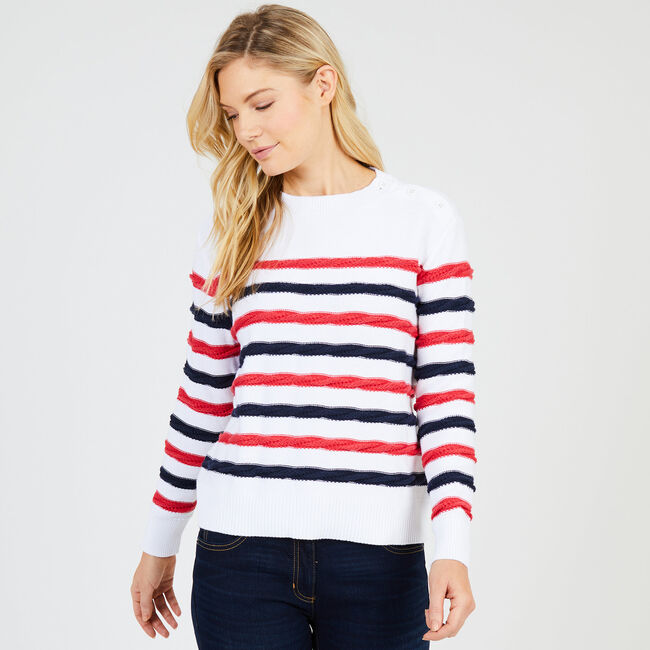 Cable Knit Striped Sweater,Bright White,large
