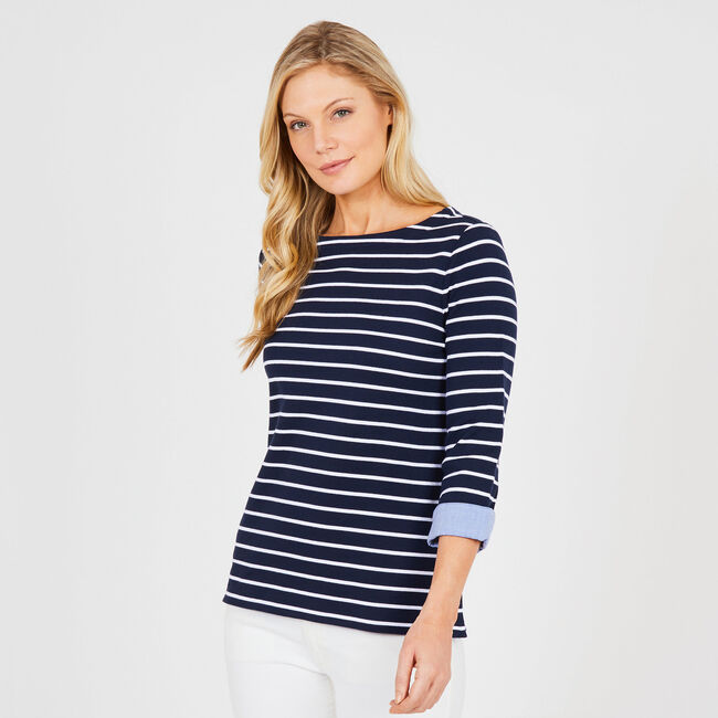 Three-Quarter Sleeve Striped Top with Cuffs,Navy,large
