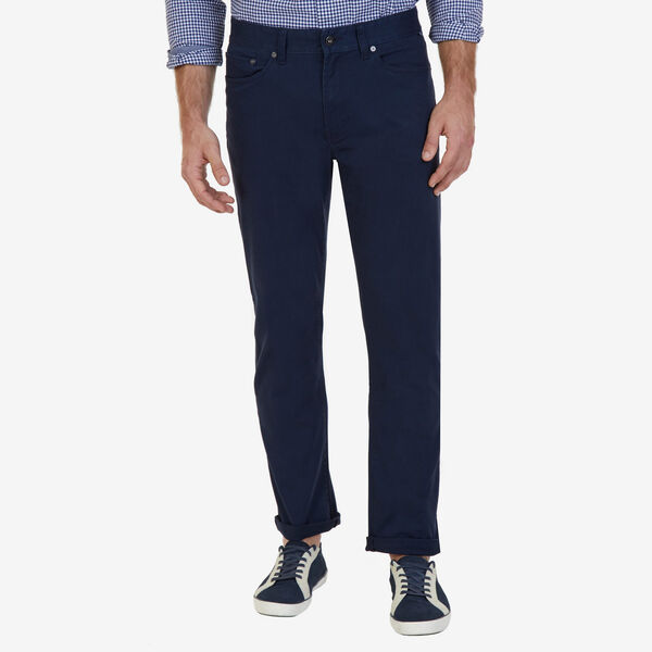Straight Leg 5-Pocket Stretch Twill Pants - True Navy