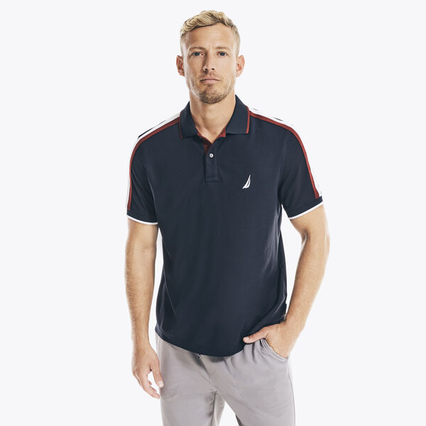 NAVTECH CLASSIC FIT SHOULDER-STRIPE POLO - Navy