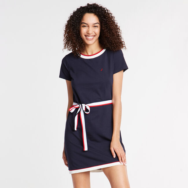 SHORT SLEEVE JERSEY DRESS,Deep Sea,large