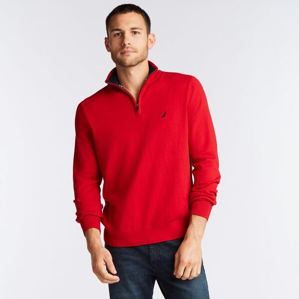 BIG & TALL QUARTER NAVTECH SWEATER - Nautica Red