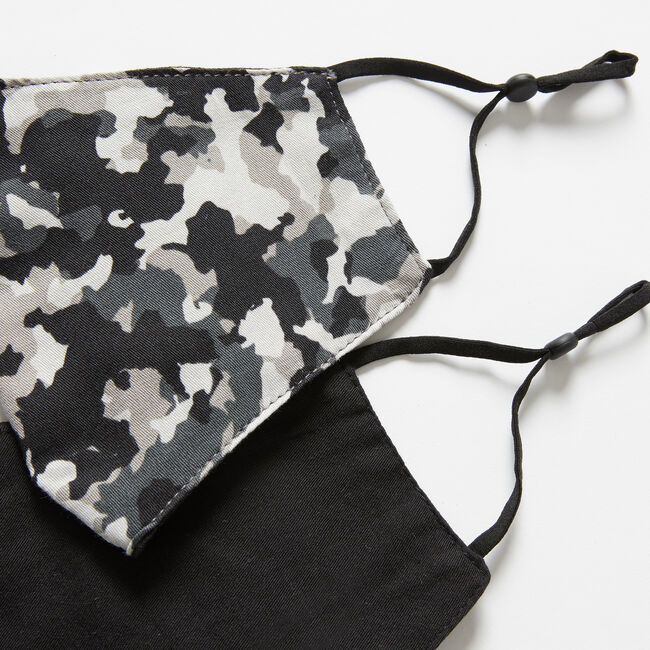 CAMOUFLAGE AND SOLID REUSABLE FACE MASK, 2 PACK,Grey Heather,large