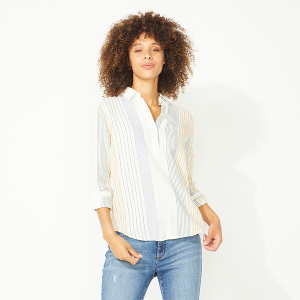NAUTICA JEANS CO. NANTUCKET STRIPE POPOVER BOYFRIEND SHIRT - Marshmallow