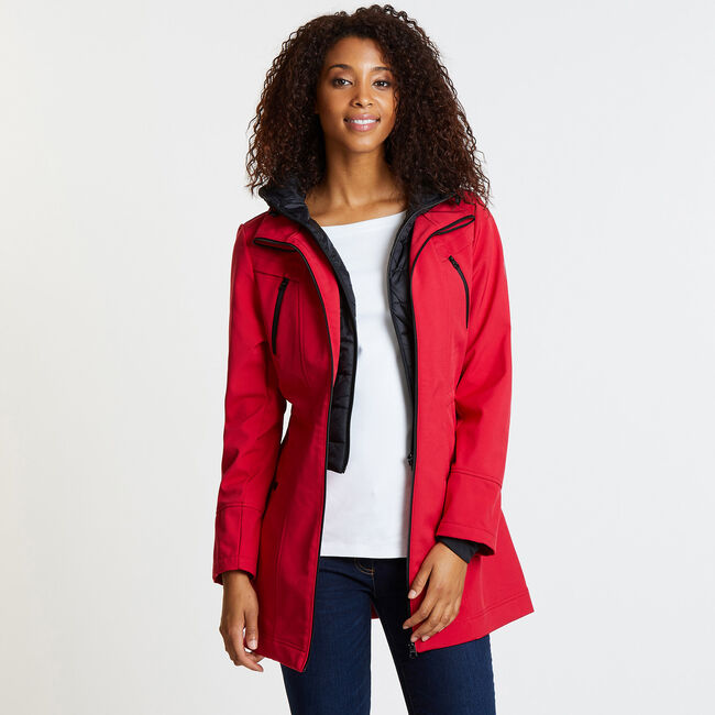 Softshell Jacket with Marshmallow Bib,Tomales Red,large