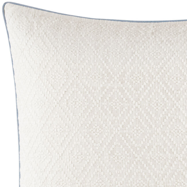 Locklear Tonal Ivory Embroidered Square Pillow in Open White,Ivory,large