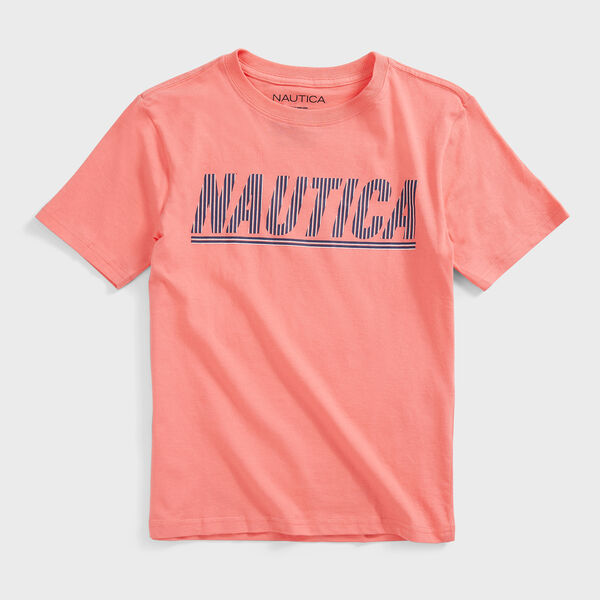 BOYS' STRIPED LOGO GRAPHIC T-SHIRT (8-20) - Sugar Coral