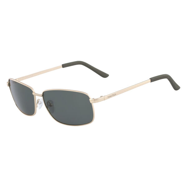 Rectangular Sunglasses with Matte Gold Frame - Yacht Yellow