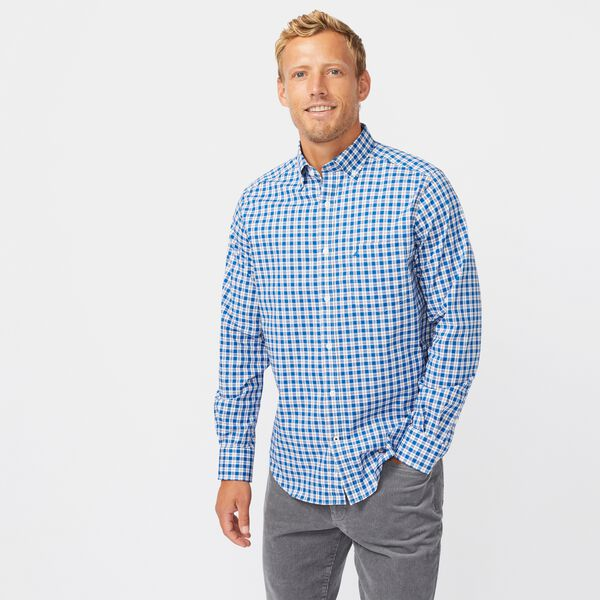 CLASSIC FIT WRINKLE-RESISTANT PLAID SHIRT - Windsurf Blue