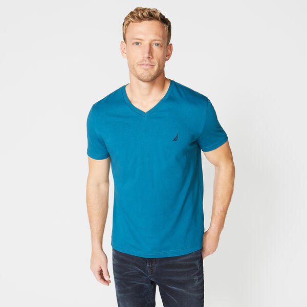 V-NECK SHORT SLEEVE T-SHIRT - Blue Heather