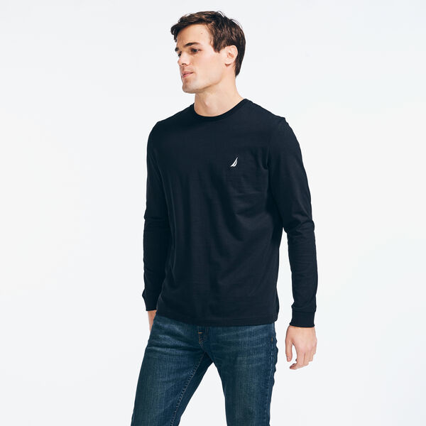 CREWNECK LONG SLEEVE T-SHIRT - True Black