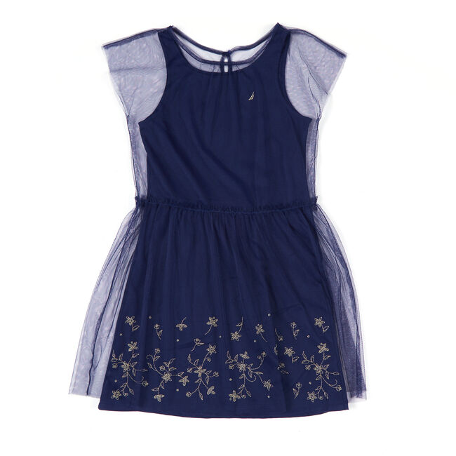 Girls' Embroidered Mesh Overlay Tank Dress (8-16),Navy,large