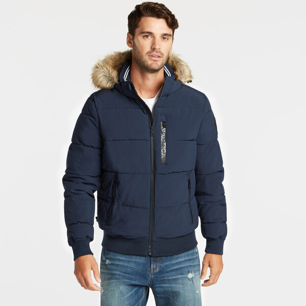 STRETCH BOMBER WITH REMOVABLE HOOD - Pure Adriatic Sea Wash